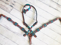 Red and Teal Beaded Diamond Pattern Tack Set