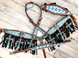 Teal Diamond Pattern Cross Fringe 4 Piece Tack Set (Bronc halter)
