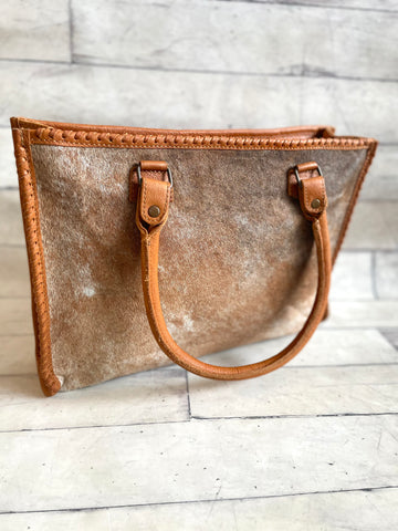 Whip Stitch Structured Camel Color, Brindle Hide Bag