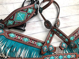 Teal Beaded Ombre Fringe Tack Set