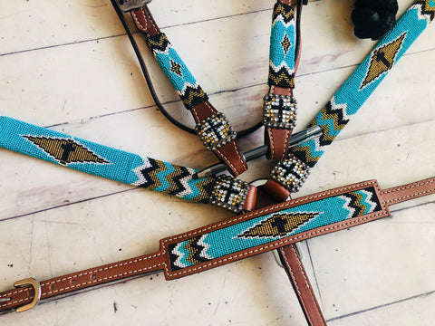Teal and Gold Diamond Beaded Wither Strap