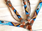 Blue Bright Colored Aztec Beaded Tack Set