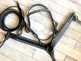 Black Leather White Buck Stitch Tack Set
