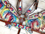 White Tie Dye Fringe Tack Set with Wither Strap and Bronc Halter