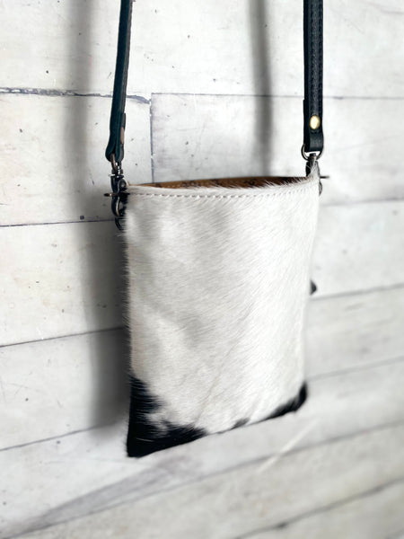 Black and White Cowhide Carryall Leather Bag