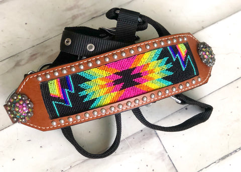 Bright Pink, Yellow & Green Rainbow Navajo Pattern Bronc Halter