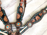 Tooled Sunflower Teal Buck Stitch Hair on Hide Inset Tack Set