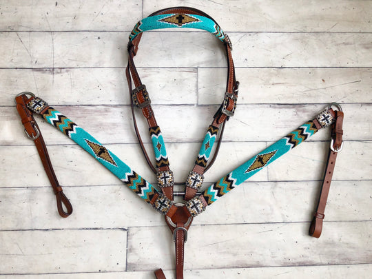 Turquoise and Gold Beaded Set