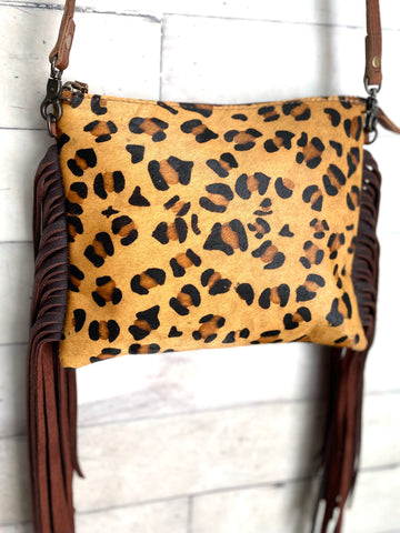 Leopard Print Hide Leather Fringe Handbag