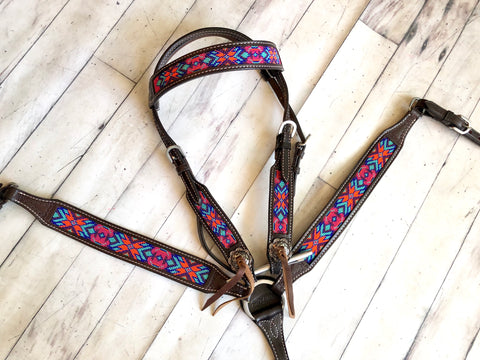 Multi-Colored Berry Beaded Tack Set on Dark Leather