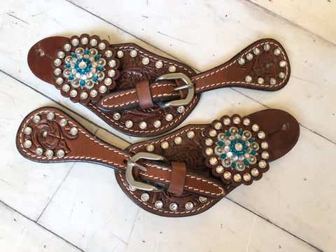 Youth Teal and Crystal Rhinestone Spur Straps