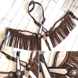 SALE! MK Re-purposed Fabric Inlay Leather Fringe Tack Set