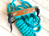 Feather and Diamond Tooled Halter on Teal Nylon Muletape
