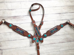 Teal and Pink Beaded Tack Set