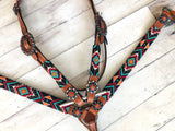 Orange, Red & Teal Diamond Pattern Beaded Tack Set