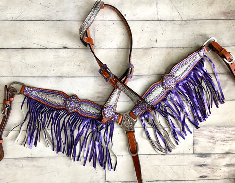 Purple Fringe  Holograph Pony Tack Set
