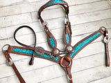 Teal Filigree with Silver Conchos