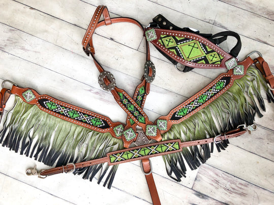 4 Piece Green Cross Beaded Ombre Fringe Set with Bronc Halter
