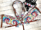 White Tie Dye Fringe Set with Rope Halter and Wither Strap