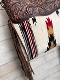 Cream & Neutral Wool Pattern Tooled Leather Crossbody Bag