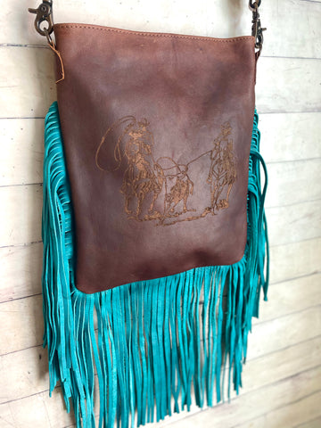 Team Roper Engraved Leather Turquoise Fringe Handbag