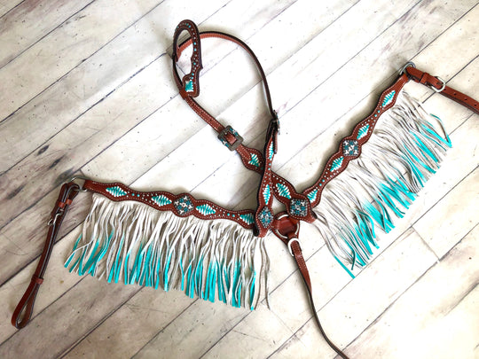 Turquoise and White Cross Stitch Leather Ombre Fringe Tack Set