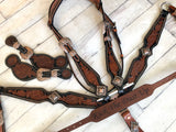 Two Tone Leather Tooled Copper Concho 4 Piece Tack Set