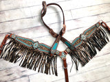 Teal Cheetah Fringe Tack Set