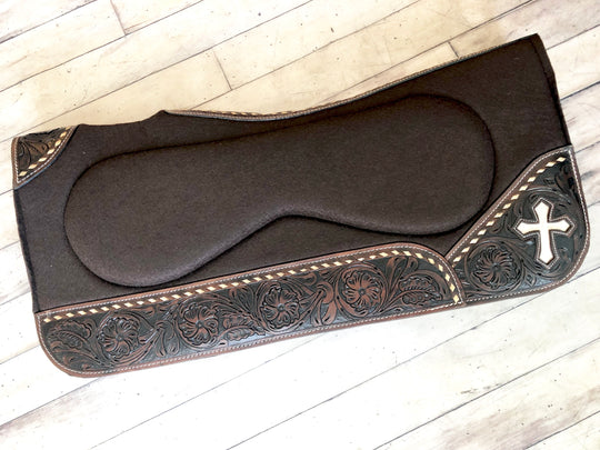 Tooled, Buck Stitch, Cross Inset Build Up Saddle Pad