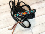 Orange and Turquoise Beaded Wrapped Knot Halter