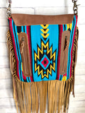 Raw Leather Edge Turquoise Yellow Red Wool Fringe Bag