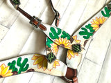 White Sunflower Cactus Painted Tack Set