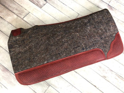 Grey Mohair Wool Saddle Pad With Basket Weave Tooling