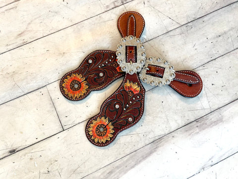 Tooled and Hand Painted Sunflower Spur Straps