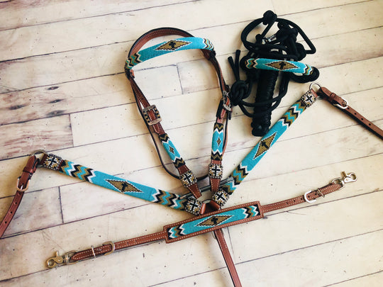 4 Piece Turquoise and Gold Diamond Pattern Beaded Tack Set
