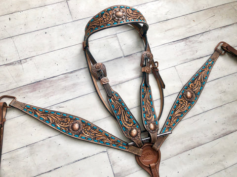 Teal Buck Stitch Tooled Copper Brushed Set