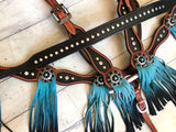 Black Tack Set with Turquoise Ombre Fringe Tassels