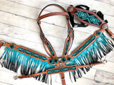 4 Piece Turquoise and Black Beaded Ombre Fringe Tack Set