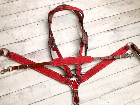 Red Glitter 3 Piece Tack Set