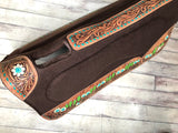 Cactus Tooled and Painted Built Up Saddle Pad