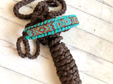 Beaded Design Teal Leather Stitch on Brown Nylon Muletape