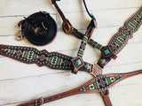Brown & Green Beaded Cross Turquoise Studded 3 Piece Set