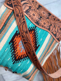 Turquoise & Orange Aztec Wool Serape Handbag