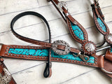 Teal Filigree with Silver Conchos and Wither Strap