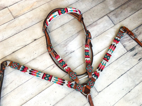 Colorful Feather Beaded Tack Set