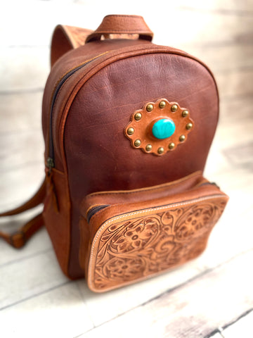 Small Leather Turquoise Concho Backpack with Tooled Straps