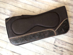 Brown With Cream Buck stitch Floral Tooled Build Up Saddle Pad