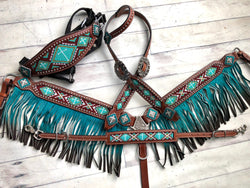 4 Piece Teal Beaded Ombre Fringe Tack Set