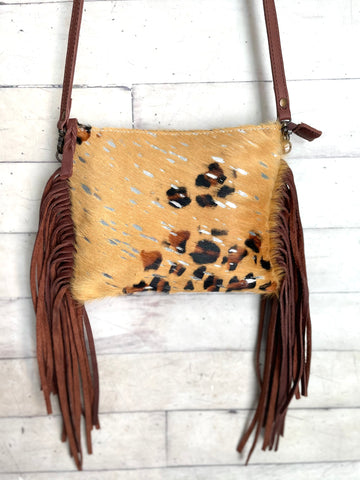 Tan Leopard Silver Splatter Hide Leather Fringe Handbag