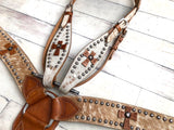 Cowhide with Leather Cross Conchos Set